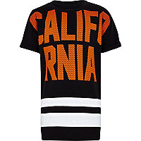 Boys black California mesh print t-shirt