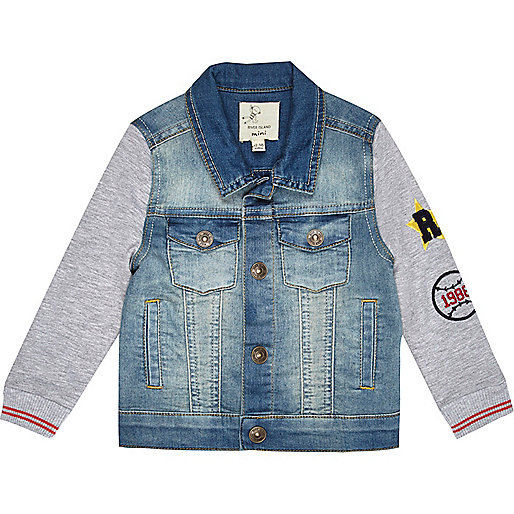 Mini denim jacket with jersey sleeves