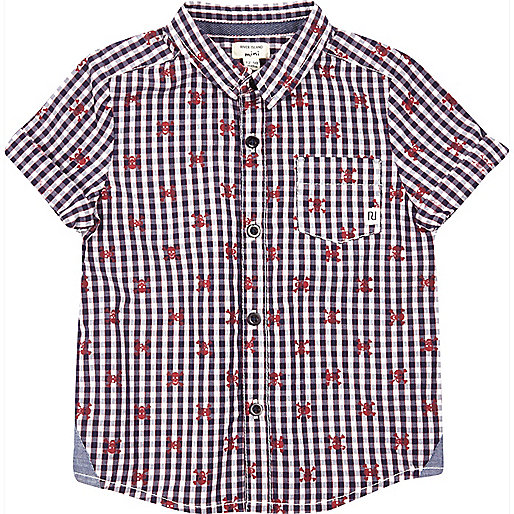 Mini boys blue check skull shirt