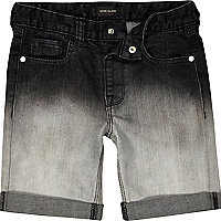 Boys black dip dye denim shorts