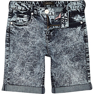 Boys blue acid wash denim shorts