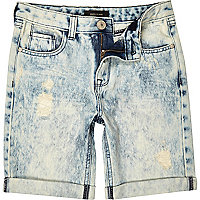 Boys blue bleach ripped denim shorts