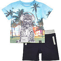 Mini boys leopard t-shirt and short set