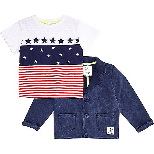 Mini boys stars and stripe t-shirt and blazer
