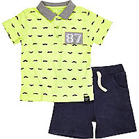 Mini boys fluro moustache polo and shorts set