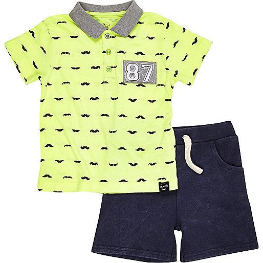 Mini boys fluro moustache polo and shorts set