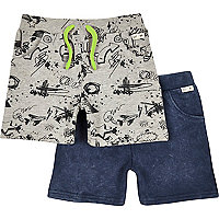 Mini boys doodle and indigo jersey shorts