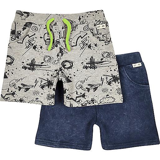 Mini boys doodle and indigo jersey shorts