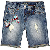 Boys blue badge denim shorts
