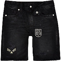 Boys black denim badge shorts