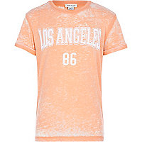 Boys orange Los Angeles burnout t-shirt