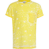 Boys yellow star print burnout t-shirt