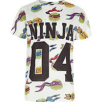 Boys white Ninja Turtle 04 print t-shirt