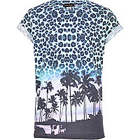 Boys blue leopard print palm t-shirt
