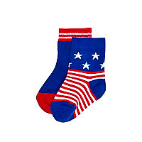 Mini boys blue American flag socks 2 pack