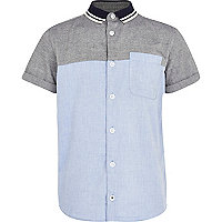 Boys blue colour block shirt