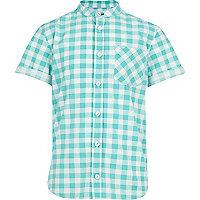 Boys mint check grandad shirt