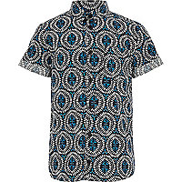 Boys black tribal print shirt