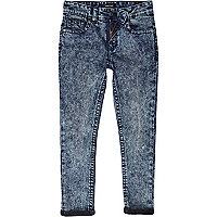 Boys dark acid wash denim skinny jeans