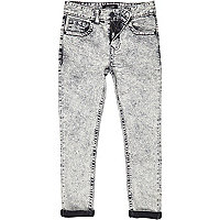 Boys grey denim acid wash skinny jeans