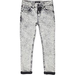 Boys grey acid wash skinny Sid jeans