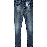 Boys blue dark wash skinny denim jeans