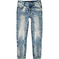Boys light bleach wash slim denim jeans