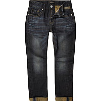 Boys dark wash rolled hem denim jeans