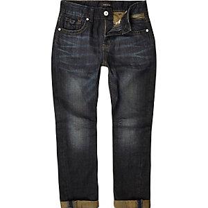 Boys dark wash rolled hem chester jeans