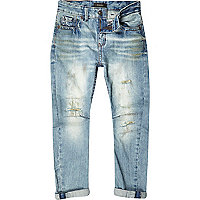 Boys light wash ripped denim chester jeans