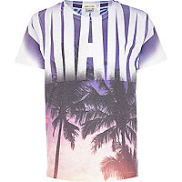 Boys white Miami palm print t-shirt