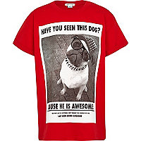 Boys red have you seen this dog print t-shirt