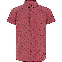 Boys washed red skull print shirt