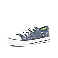 Boys blue denim canvas plimsolls