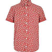 Boys red flamingo print shirt