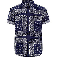 Boys navy bandana print shirt