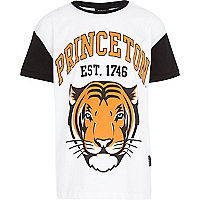 Boys white Princeton tiger print t-shirt