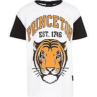 Boys white Princeton tiger print t-shirt