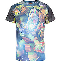 Boys black Ninja Turtle space print t-shirt