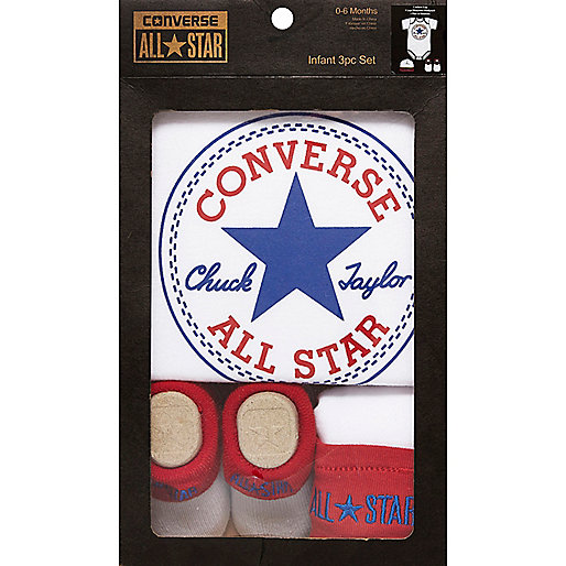 Mini boys white Converse gift set