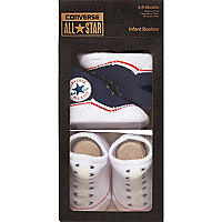 Mini boys navy Converse booties