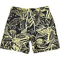 Boys yellow hawaiian print shorts