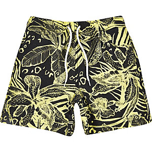 Boys yellow hawaiian print shorts