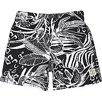 Boys black hawaiian print shorts