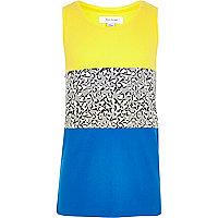 Boys blue leopard print block vest