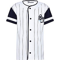 Boys white stripe button through baseball top