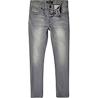 Boys grey denim skinny jeans