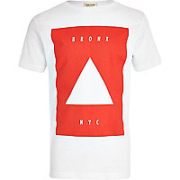 Boys white NYC red square print t-shirt