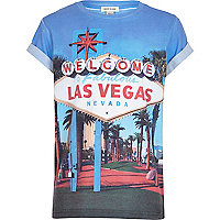 Boys blue Las Vegas sign print t-shirt