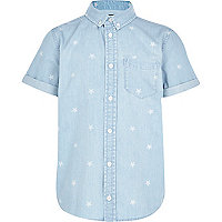 Boys light denim star print shirt